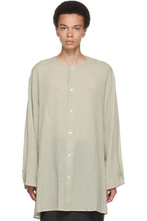 Hed Mayner Taupe & Blue Check Collarless Shirt