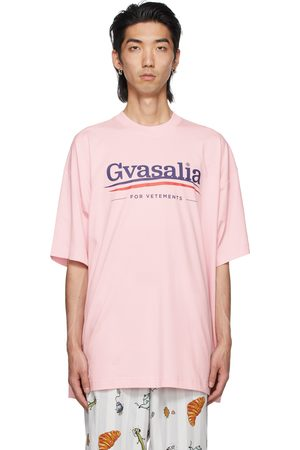Vetements Men T-shirts - Pink 'Gvasalia' T-Shirt