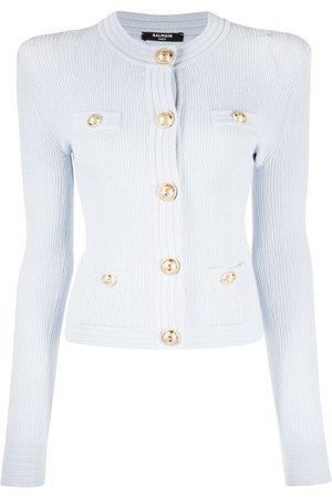 Balmain Button-detail ribbed-knit cardigan