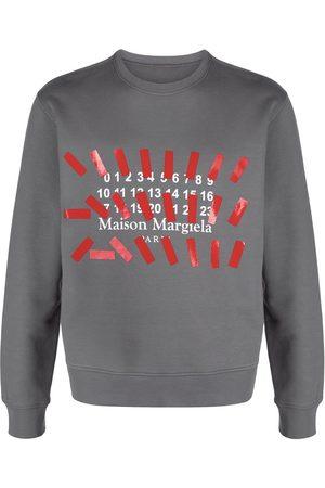 Maison Margiela Men Sweatshirts - Number-print logo sweatshirt - Grey