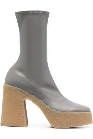 Stella McCartney Women Heeled Boots - Skyla stretch platform boots - Grey