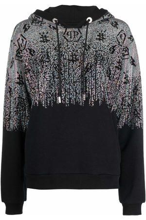 Philipp Plein Women Hoodies - Crystal-monogram pullover hoodie