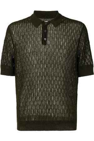 Bally Men Polo Shirts - Diamond-pattern linen polo shirt