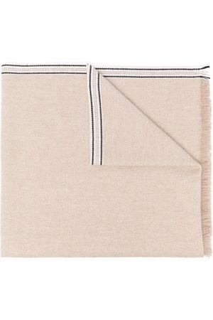 Brunello Cucinelli Men Scarves - Striped-edge cashmere scarf - Neutrals