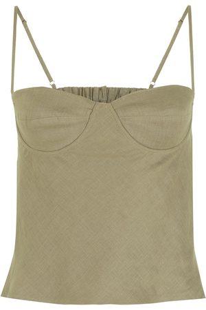 Piu Women Camisoles - Sweetheart-neck linen top