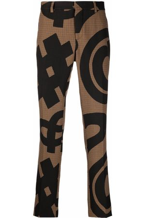 Moschino Men Straight Leg Pants - Graphic-print pressed-crease trousers
