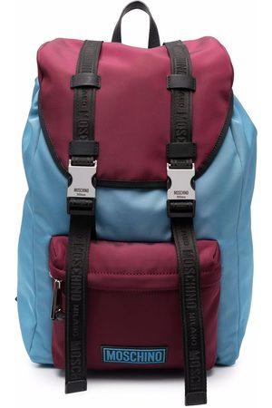 Moschino Men Rucksacks - Two-tone logo-patch backpack