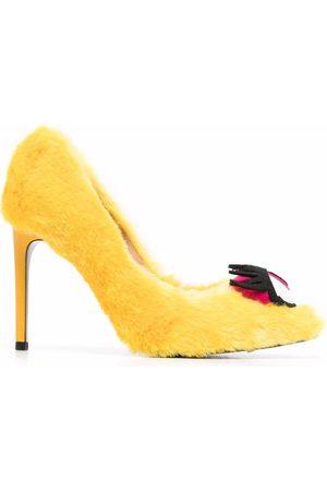 Moschino Eye-motif faux-fur stiletto pumps