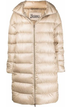 HERNO Down-feather mid-length coat - Neutrals