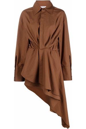 The Attico Women Asymmetrical Dresses - Asymmetric gathered shirtdress