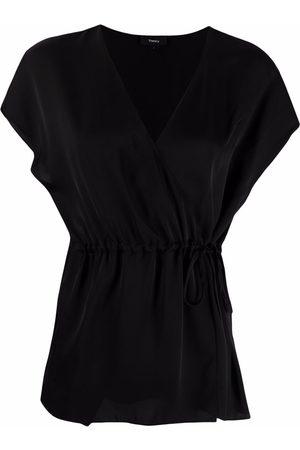 THEORY Wrap design silk top
