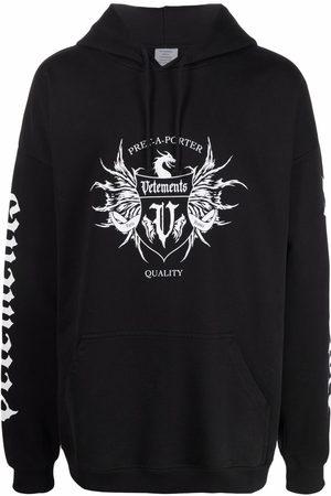 Vetements Men Hoodies - Logo-print long-sleeved hoodie