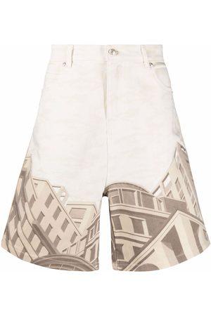 Formy Studio City-print denim shorts - Neutrals