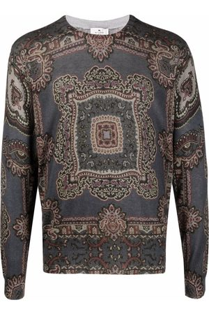 ETRO Men Sweatshirts - Geometric knit silk-cashmere jumper - Grey