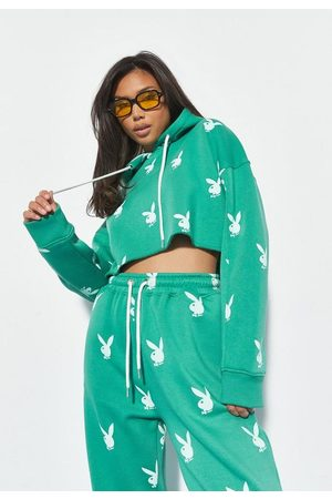 Missguided Playboy X Bunny Repeat Print Cropped Hoodie