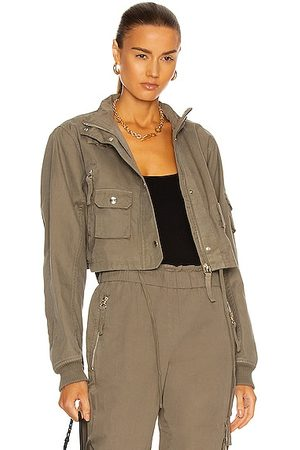 Helmut Lang GD Crop Bomber Jacket in Army