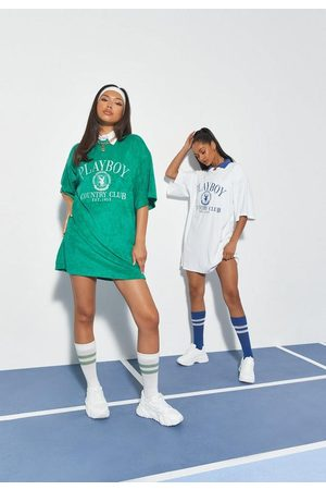 Missguided Playboy X Sports Embroidery Towelling T Shirt Dress