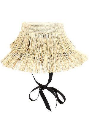 SENSI STUDIO Frayed Lamp Shade Hat in Neutral