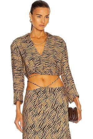 JONATHAN SIMKHAI Mazzy Zebra Printed Crop Shirt in Brown