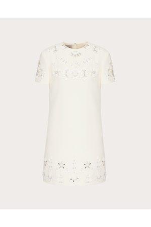 VALENTINO San Gallo Edition Crepe Couture Short Dress Women Ivory Silk 35%, Virgin Wool 65% 36