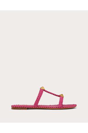 VALENTINO GARAVANI Women Sandals - Roman Stud Flat Slide Sandal With Macramé Women Dawn Viscose 29%, Polyurethane 71% 35