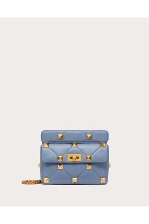 VALENTINO GARAVANI Medium Nappa Roman Stud The Shoulder Bag With Chain Women Azure 100% Lambskin OneSize