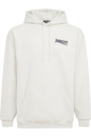 Balenciaga Men Hoodies - Embroidered Cotton Hoodie