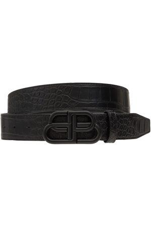 Balenciaga 3.5cm Bb Croc Embossed Leather Belt