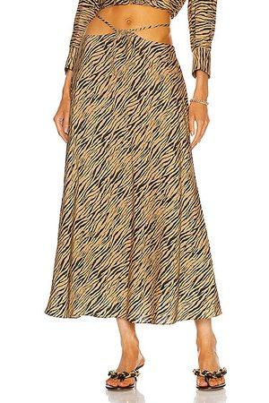 JONATHAN SIMKHAI Shiloh Zebra Printed Strap Detail Skirt in Brown