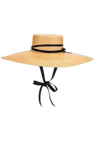 SENSI STUDIO Extra Long Brim Leather Ribbon Hat in Neutral