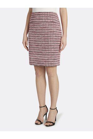 Tahari ASL Women Midi Skirts - Tweed Knee-Length Skirt Ivory Tweed Checks Size: 10