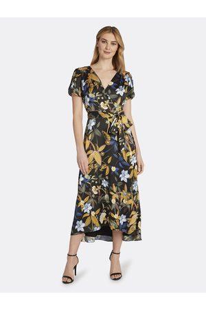 Tahari ASL Women Printed Dresses - Mustard Satin Wrap Dress Mustard Floral Size: 10 Faux