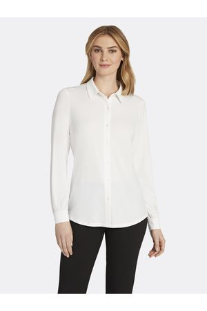 Tahari ASL Women Tops - Cuffed Button-Down Top Ivory Jersey Large