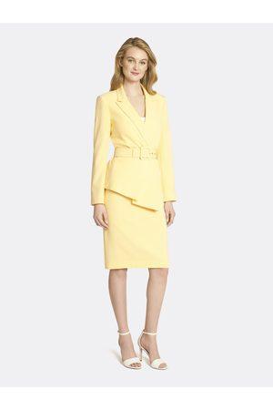 Tahari ASL Women Asymmetrical Skirts - Asymmetric Belted Crepe Skirt Suit Golden Size: 10