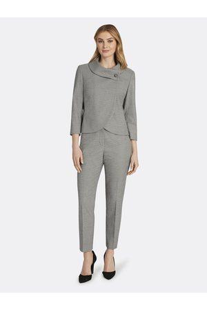 Tahari ASL Women Formal Pants - Wrap Collar Houndstooth Pant Suit Ivory Size: 10