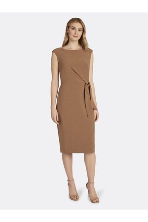 Tahari ASL Women Nightdresses & Shirts - Side Tie Sheath Dress Tonal Almond Size: 10