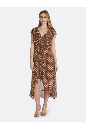 Tahari ASL Women Dresses - Cascading Ruffle Wrap Dress Almond Dot Size: 10 Chiffon