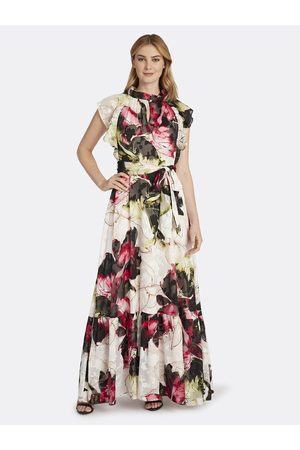 Tahari ASL Women Printed Dresses - Ruffle Neck Evening Dress Blush Rose Floral Texture Size: 10 Chiffon