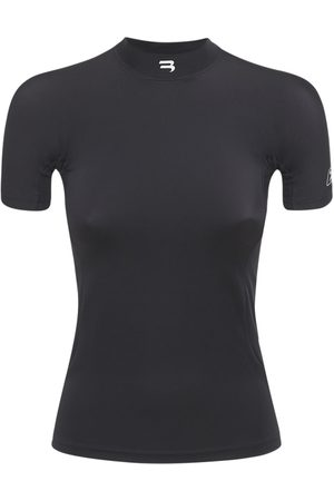 Balenciaga Logo Fitted Stretch Jersey Top