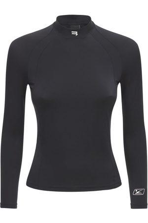 Balenciaga Women Tops - Logo Fitted Stretch Jersey Top