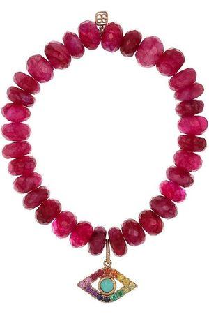 Sydney Evan Women Bracelets - Fuschia Quartz Evil Eye Bead Bracelet