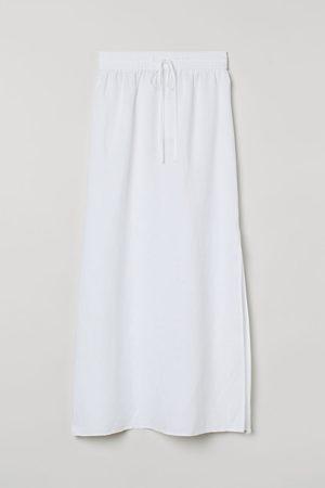 H&M Long Linen-blend Skirt