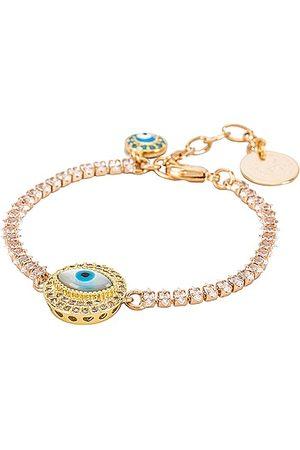 Anton Heunis Eye Crystal Chain Bracelet in White.