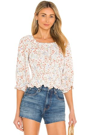 1. STATE Scoop Neck Ruched Blouse in White.