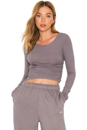 alo Gather Long Sleeve Top in Lavender.