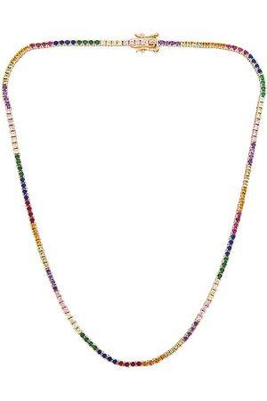 Lili Claspe Amina Tennis Necklace in Metallic .