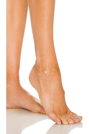 Adina's Jewels Women Body Jewelry - Pave Butterfly Initial Anklet in Metallic .