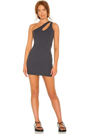MONROW Women Bodycon Dresses - Cut Out One Shoulder Dress in Charcoal.