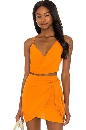 Indah Women Camisoles - Polina Cowl Neck Cami in Orange.