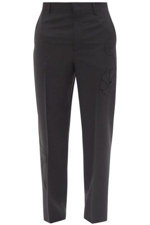 VALENTINO Garden-appliqué Wool-blend Trousers - Mens